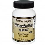 Healthy Origins, Vitamin D3, 1000 IU, 90 Softgels