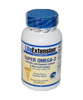 Life Extension, Super Omega-3, EPA/DHA with Sesame Lignans & Olive Fruit Extract, 60 Softgels