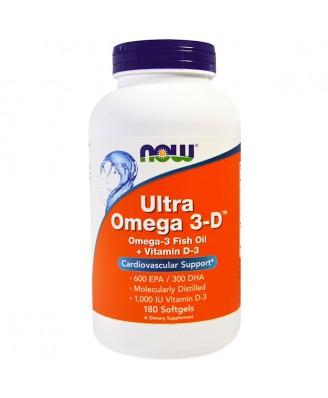 Ultra Omega 3-D- 600 EPA/300 DHA (180 softgels) - Now Foods