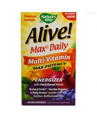 Alive! Whole Food Energizer Multivitamine Zonder Toegevoegd IJzer - Nature's Way (90 Vcaps)