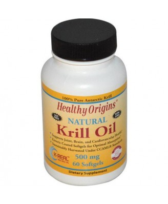 Healthy Origins, Krill Oil, Natural Vanilla Flavor, 500 mg, 60 Softgels