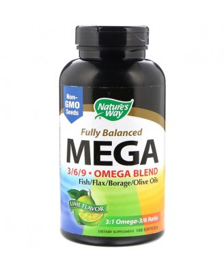 Nature's Way, Maximum Strength Mega 3/6/9, Omega Blend, Lime Flavor, 1350 mg, 180 Softgels