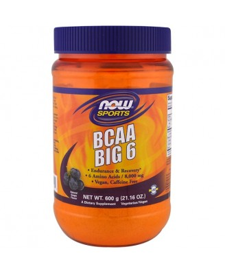 BCAA Big 6- Natural Grape Flavor (600 gram) - Now Foods