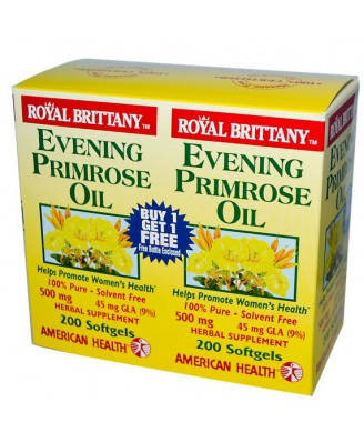 American Health, Royal Brittany, Evening Primrose Oil, 500 mg, 2 Bottles, 200 Softgels Each