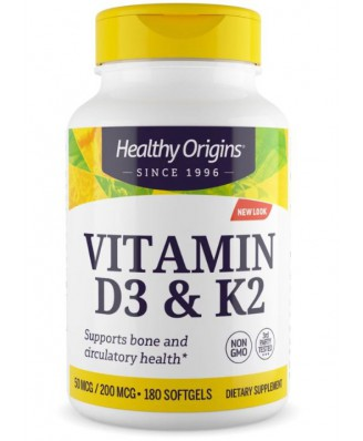 Vitamin D3 & K2, 50mcg/200mcg, 180 Softgels, Healthy Origins