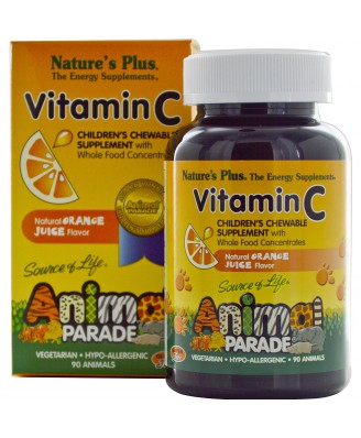 Vitamin C, Children's Chewable Supplement, Natural Orange Juice Flavor (90 Animals) - Nature's Plus