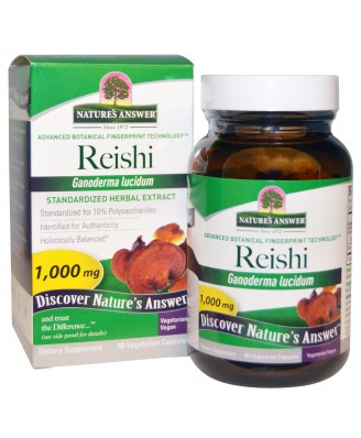 Reishi, Standardized Herbal Extract, 1000 mg (60 Veggie Caps) - Nature's Answer