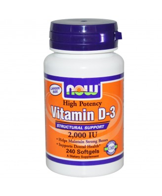 Now Foods, Vitamin D-3, 2,000 IU, 240 Softgels