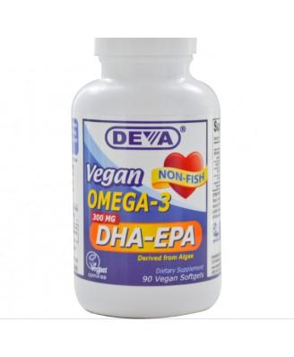 Vegan Omega-3 DHA-EPA 300 mg (90 Vegan Softgels) - Deva