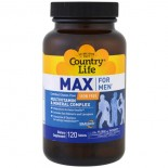 Max for Men- Multivitamin & Mineral Complex- Iron-Free (120 tablets) - Country Life