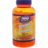 Arginine & Citrulline- 500/250 mg (240 Vegetarian Capsules) - Now Foods