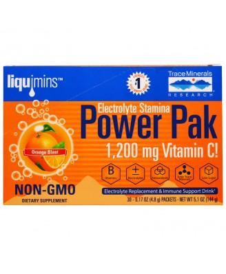 Trace Minerals Research, Electrolyte Stamina, Power Pak, Orange Blast, 30 Packets, 0.17 oz (4.8 g) Each